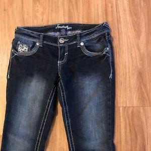 Amethyst Dark Wash Skinny Jeans w/ Sparkly Pockets